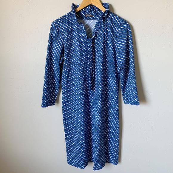 J. Mclaughlin Blue & White Geometric Midi Dress